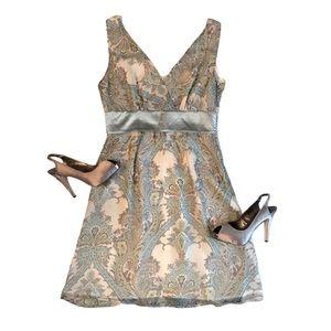 Romy Paisley Shift Dress | Glint Peep Toe Heels